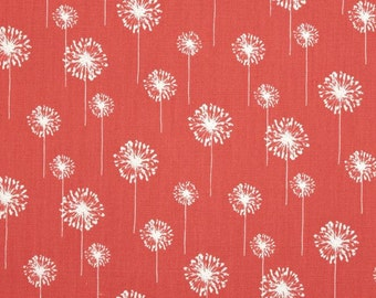 35 Inches of Small Dandelion Coral and White Premier Prints Fabric - Home Decor Fabric
