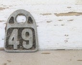 Vintage Metal Cow Tag Number HASCO  Industrial Ranch Farm Livestock Animal Farmhouse Country Shabby Chic