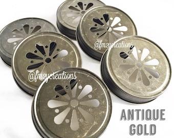 Daisy Cut Mason Jar Lids--(6) ANTIQUE GOLD Daisy Cut Mason Jar Lids, Metal Jar Lids, Mason Jar Lids, Daisy Lids