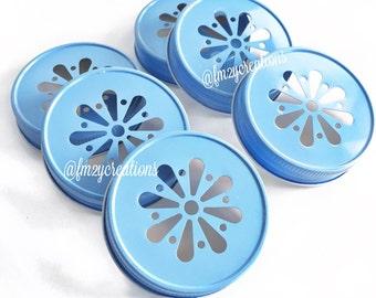 Light Blue Color Daisy Lids--(6)Wedding Daisy Lids, Daisy Cut  Blue Mason Jar Lids, Mason Jar Lids,