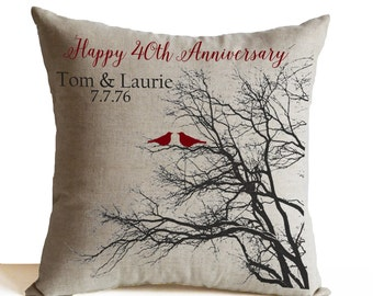 Ruby Anniversary Gift, 40th Anniversary Pillow, Personalized Pillow Cover, Personalized Gift Gift For Parents, Gift For In-laws Custom Gift