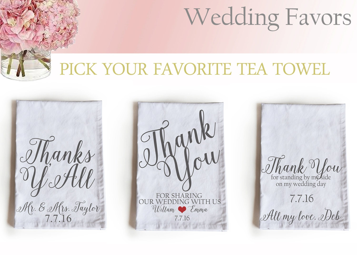 Personalised Wedding Gifts Towels : Wedding Favor Tea Towels Kitchen Towels by AmoreBeaute on Etsy