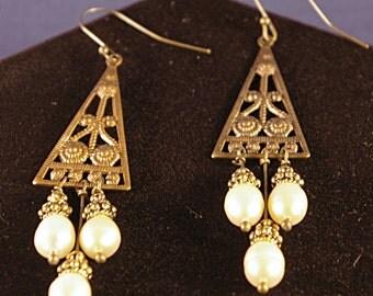 Chandelier Bronze with Pearls