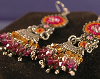 Small Pink India Posts with Drops Earrings