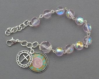 Alphabet Letter G - 8mm AB Pink Crystal One Decade Rosary Bracelet