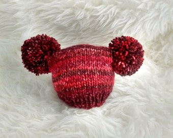 Baby girl hat - red ruby scarlet variegated pom pom hat photography prop preemie newborn baby child - hand knit - autumn fall winter - vegan