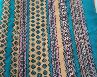 Pretty Turquoise Peach Head Neck Scarf Made in Japan Acetate 13x45 Rectangle