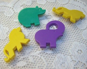 Sale...FOUR Vintage TUPPERWARE Animal Pin Lot...Two Yellow Lions...Teal Bear..Purple Elephant...4 Plastic Pins