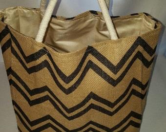 Chevron Tote Burlap Tote Bag Trendy Tote