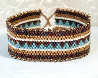 Boho Bracelet, Woven Bracelet, Blue Bronze Bracelet, Seed Bead Bracelet Cuff, Bohemian Bracelet Sterling Jewelry Boho Gifts, Earth Tones