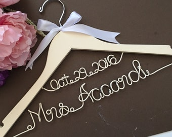 WEEKEND SALE. Personalized Bridal Wedding Hanger. Bridal Party. Custom Hanger. Ivory hanger with ivory wording. Unique special.