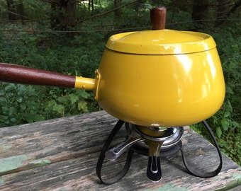 Fondu Pot Vintage Yellow Japan Retro Enamel Cookware