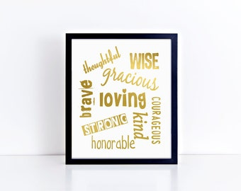 Traits Collage - Foil Typography Art Prints, Decor & Gift Prints,  8x10