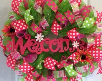 Summer mesh wreath/ welcome wreath/ summer wreath