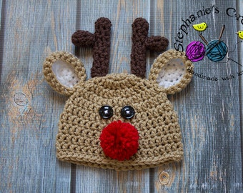 Crochet baby reindeer hat christmas hat crochet Newborn photo props photography boy-Made to order