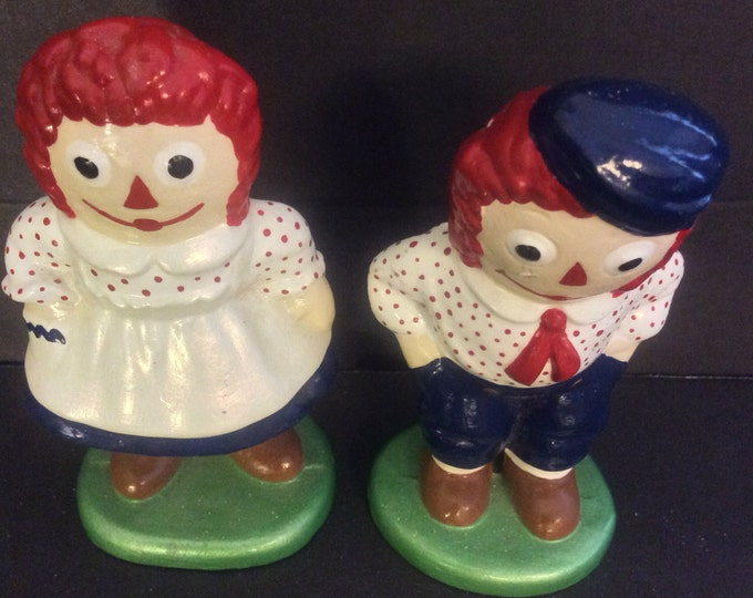 Amazing vintage the Bobbs Merrill Company Raggedy Ann and Andy collectible ceramic dolls, Raggedy Ann and Andy collectibles, Collectibles
