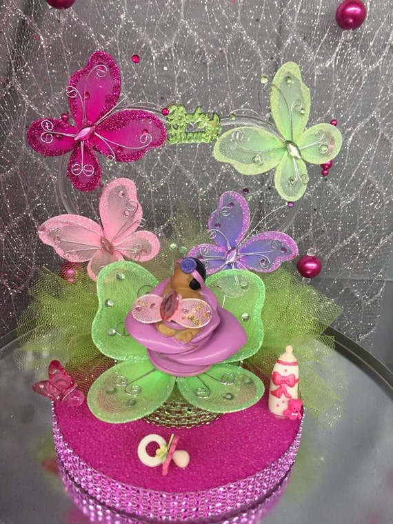 Butterfly Cake Toppers Baby Shower : Ethnic Baby Girl Butterflies Baby Shower Cake Topper