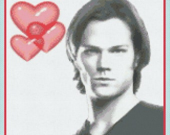 Love Sam Winchester (Jared Padalecki - Supernatural) Counted Cross Stitch Chart