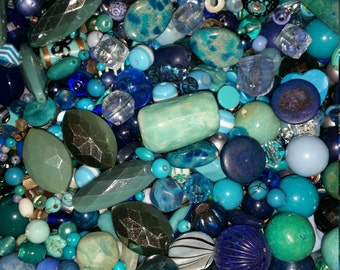 NEW BEADS ADDED!!  Huge Scoop of Blue Beads!! Bead Soup