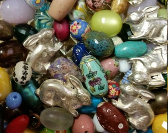 SALE! Easter Bunny Bright Bead Mix * Glass Loose Bead Lot! Bead Soup