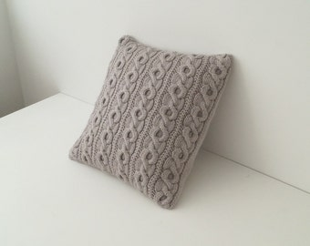 knit Pillow Cover, Knitted Cushion Cover, Throw Pillow Sham, Taupe - DRAYCOT