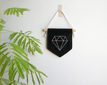 Diamond decor, banner wall hanging, geometric, minimalist, embroidered banner, felt mini banner, dorm decor, pennant flag, gifts under 15