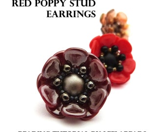 Red Poppy Stud Earrings - PDF beading pattern - Instant Download