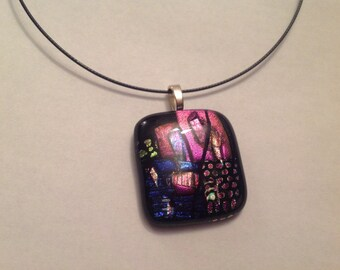 Black and pink dichroic  pendant