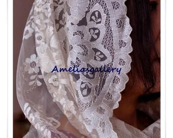 100% Hand Embroidered spanish catholic lace mantilla chapel veil