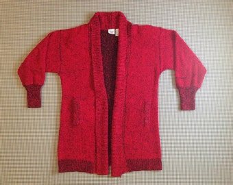 1980's, 3/4 length, no close, oversized, cardigan, in nubby, red and black, Women's size Medium