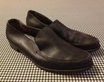 1980's, black leather, moccasin style loafers, by Bally, Men's size 10.5 D