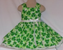 St Patrick's Day Dress, for Toddlers and Girls, Unique, Handmade Shamrock Dress, Girls Parade Dress, Girls Pageant Dress, Custom Boutique