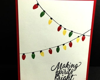 Christmas Card, Holiday Card, Christmas Lights, Making Spirits Bright, Handstamped