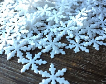 Miniature Snowflakes CUT OUT on Edible Heavy Thick Wafer Paper