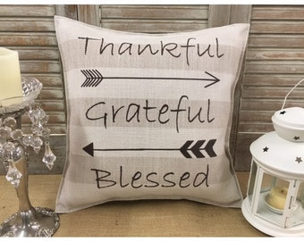 """Decorative Pillow with """"Thankful Grateful Blessed"""" and arrows on the front COMPLETE pillow. Aztec arrow pillow,  arrow pillow, home decor"""