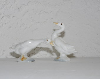 Miniature Geese Set of two Japan Fine China Farm Animals Cottage Chic
