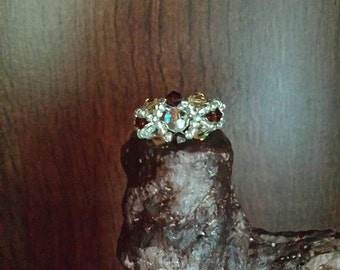 Swarovski crystals and beads ring