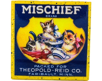 Handmade Coaster - Mischief Cats - Vintage Advertising - Handmade Recycled Tile Coaster