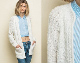 Vintage Cardigan White Fuzzy Slouchy Sweater with Pockets