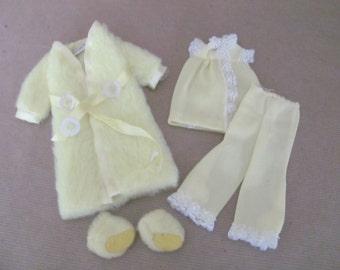 Vintage Skipper Clothes, 1970's Skipper Outfit, #1749 Lemon Fluff, Skipper Pajamas, Accessories, Vintage Skipper Outfit, Barbie's Sister
