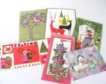 Vintage Christmas Card Lot, 1960's Mod, Animal Christmas Cards, Used Christmas Cards, Greeting Cards, 1960's Christmas, Crafting