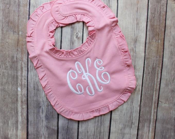 Monogrammed Bib, Baby Girl Ruffle Bib, Monogrammed Baby Girl Bib, Pink Ruffle Bib, Baby Shower Gift, Personalized Bib, Monogrammed Bib