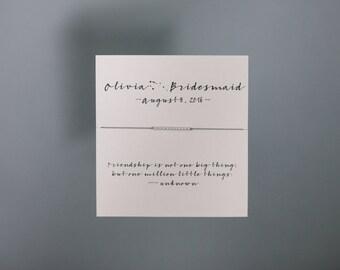 Friendship Bracelet - Customizable Wedding Party - Sterling Friendship Bracelet on Silk - Grey