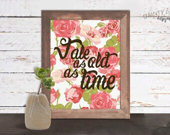 Pink Rose, Tale As Old As Time, Beauty and the Beast,  Roses, Digital Print, Instant Download, Home Decor, Download