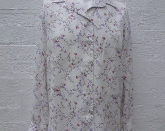 Womens top ladies indie office blouse womens vintage clothing ladies shirt gift blouse secretary top urban 80s chic blouse floral top hippie