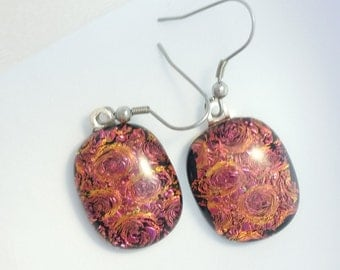 Fused Glass Jewelry, Red Dichroic Earrings , Red Glass Earrings , Fused Glass Earrings, Dichroic Earrings, Dichroic Glass