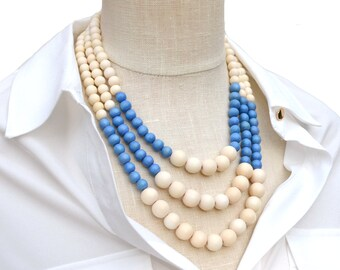 light blue bead necklace / summer jewelry / periwinkle blue necklace / light blue and white necklace / baby blue necklace / modern necklace