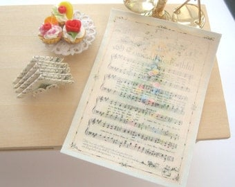 christmas dollhouse  kitchen tea towel cotton music  12th scale miniature