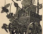Master and Servant Linoblock Print