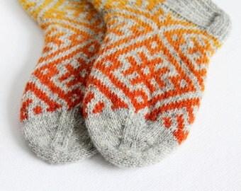 Knitted wool socks, Yellow orange grey socks, Ethnic wool socks, Warm yellow orange grey socks, Rustic wool socks, Winter thick socks